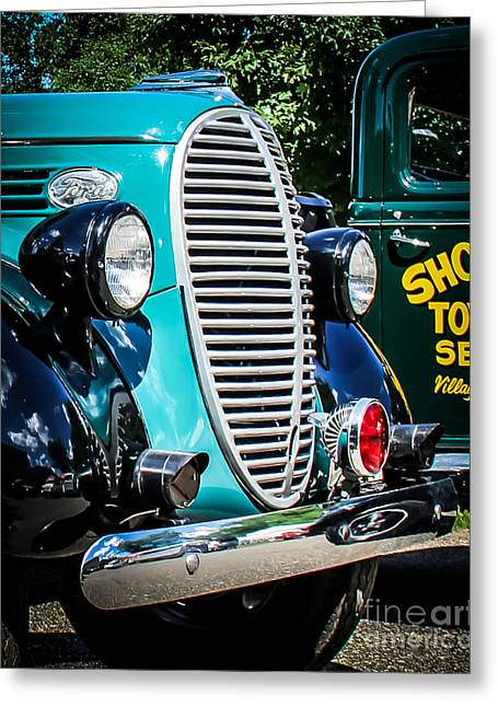 Old Truck Photography Greeting Cards - Ford Towing Greeting Card by Perry Webster