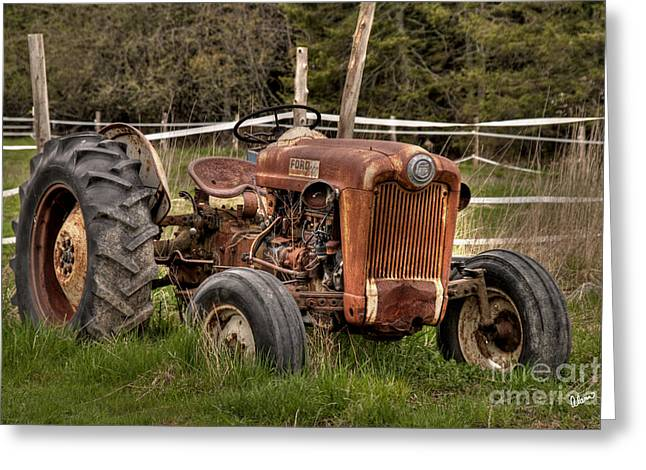 Maine Farms Digital Greeting Cards - Ford Tractor Greeting Card by Alana Ranney
