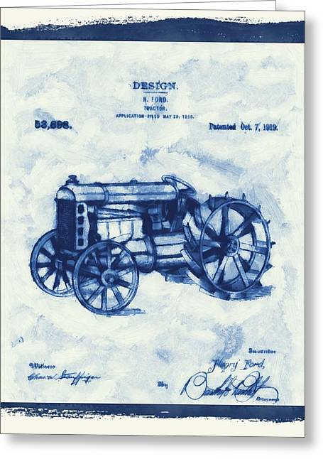 Henry Mixed Media Greeting Cards - Ford Tractor Patent Greeting Card by Dan Sproul