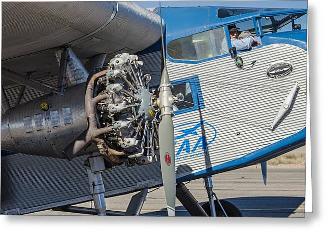 Ford Tri-motor Greeting Cards - Ford Tri-Motor - Business End Greeting Card by Allen Sheffield