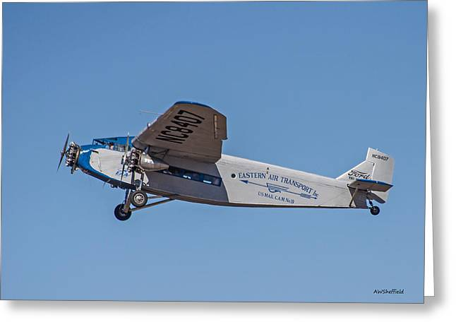 Ford Tri-motor Greeting Cards - Ford Tri-Motor In Flight Greeting Card by Allen Sheffield