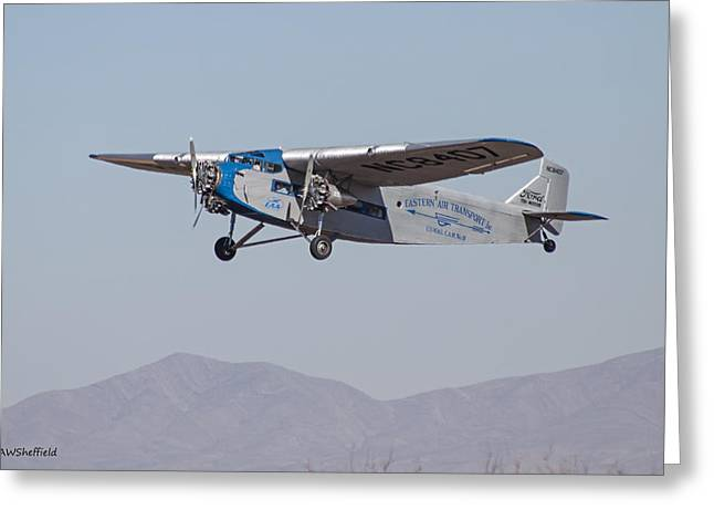 Ford Tri-motor Greeting Cards - Ford Tri-Motor Taking Off Greeting Card by Allen Sheffield