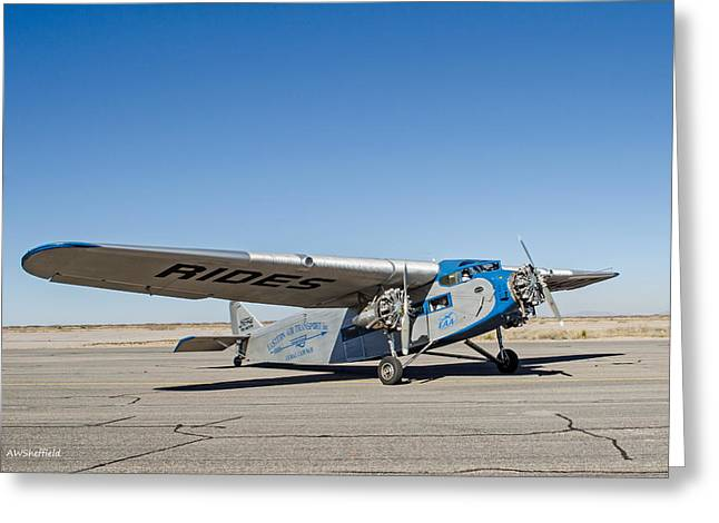 Ford Tri-motor Greeting Cards - Ford Tri-Motor Taxiing Greeting Card by Allen Sheffield