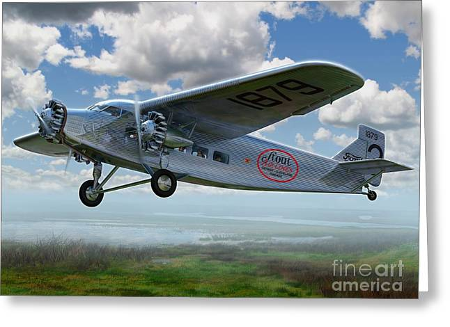 Tin Goose Greeting Cards - Ford Trimotor Greeting Card by Stu Shepherd