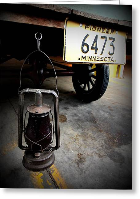 Minnesota Licence Plates Greeting Cards - Ford truck With Rear Dietz Kerosene Lantern Greeting Card by Amanda Stadther