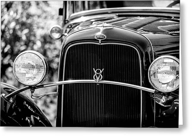 Grillwork Greeting Cards - Ford V8 Greeting Card by Caitlyn  Grasso