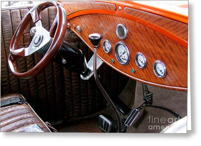 Ford V8 Dashboard Greeting Card by Mary Deal