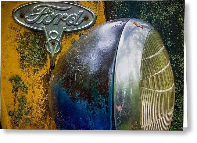 Lichen Photo Greeting Cards - Ford V8 emblem Greeting Card by Paul Freidlund