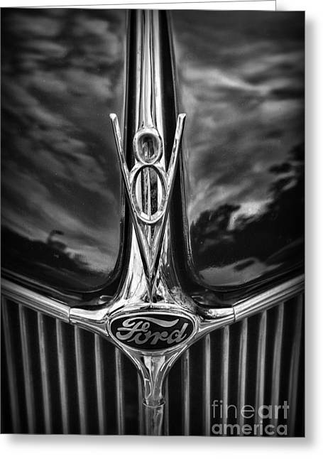 Automobile Hood Greeting Cards - Ford V8 in Black and White Greeting Card by Paul Ward