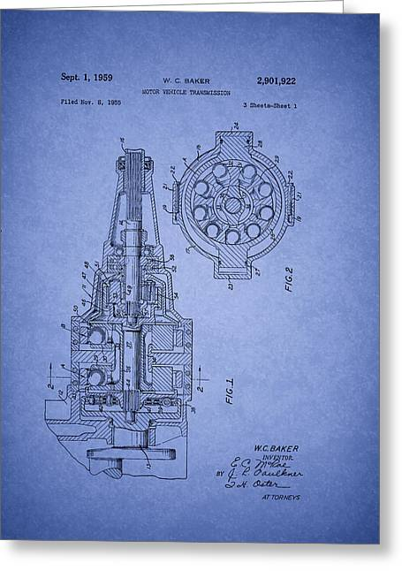 Transmission Drawings Greeting Cards - Ford Vehicle Transmission Patent 1959 Greeting Card by Mountain Dreams