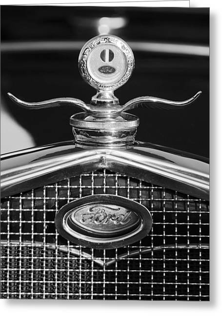 Ford Hotrod Greeting Cards - Ford Winged Hood Ornament black and white Greeting Card by Jill Reger