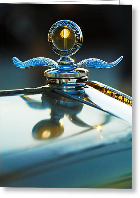 Recently Sold -  - Collector Hood Ornament Greeting Cards - Ford Winged Radiator Cap Greeting Card by Jill Reger