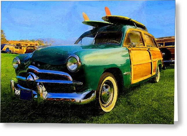 Station Wagon Greeting Cards - Ford Woodie with Longboards Greeting Card by Ron Regalado
