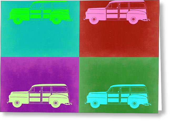 Woody Wagon Greeting Cards - Ford Woody Pop Art  Greeting Card by Naxart Studio