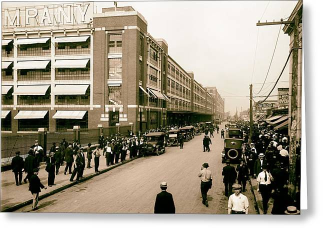 Ford Work Shift Change - Detroit 1916 Greeting Card by Mountain Dreams