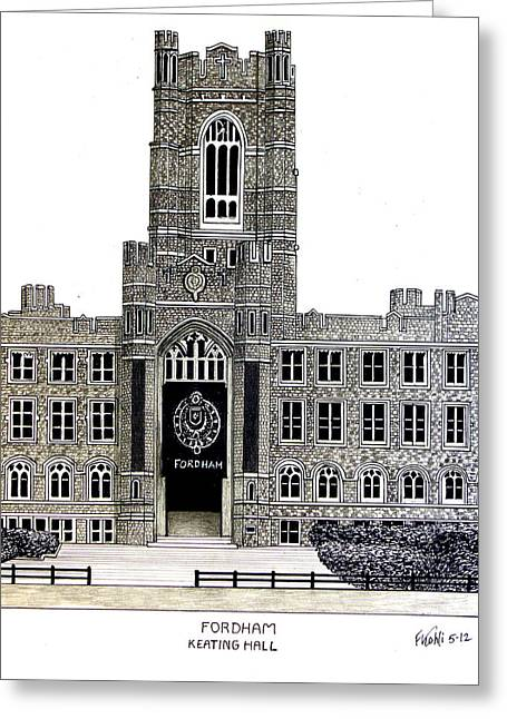 University Building Drawings Greeting Cards - Fordham Greeting Card by Frederic Kohli
