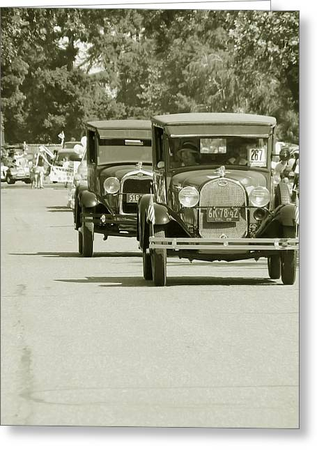 Fords On Parade Greeting Card by Pamela Patch
