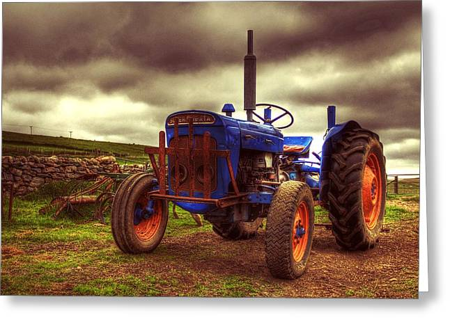Steering Greeting Cards - Fordson Super Dexta Tractor On Shetland Croft Greeting Card by Anne Macdonald