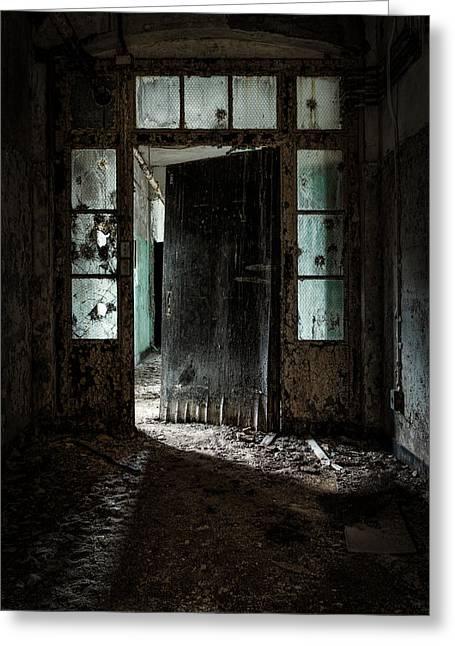 Old Door Greeting Cards - Foreboding Doorway Greeting Card by Gary Heller