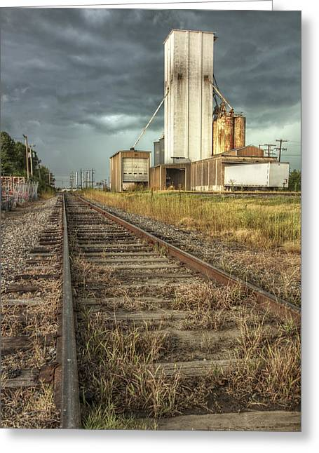 Conway Arkansas Greeting Cards - Foreboding Sky Above a Prairie Sentinel - Storm - Railroad Tracks Greeting Card by Jason Politte