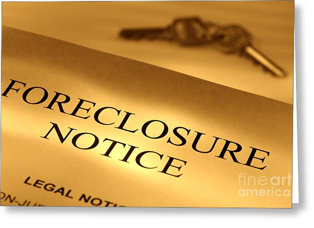 Bankrupt Greeting Cards - Foreclosure Notice Greeting Card by Olivier Le Queinec