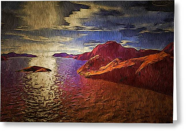 Terragen Mixed Media Greeting Cards - Foreign Terrage Landscape Greeting Card by Mario Carini