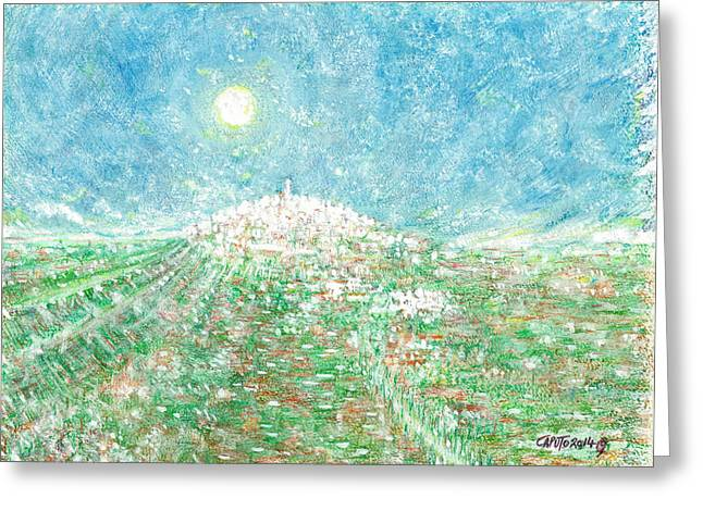 Italian Landscape Pastels Greeting Cards - Forenza - Vista Campagna Greeting Card by Giovanni Caputo