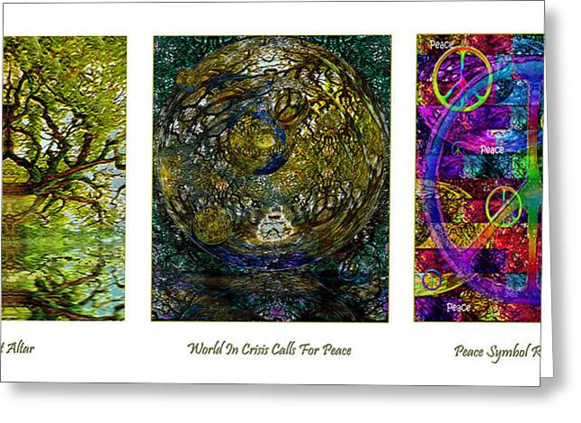 Crisis Mixed Media Greeting Cards - Forest Altar World Crisis Peace Greeting Card by Michele  Avanti