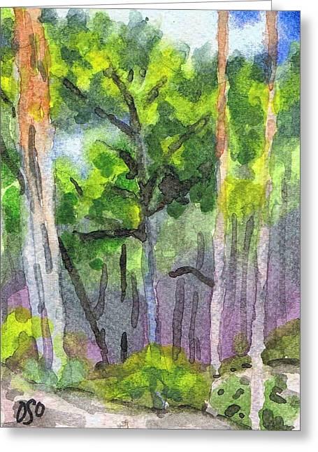 Fontainebleau Forest Greeting Cards - Forest below Mont Aigu - Foret au dessous le mont Aigu Greeting Card by David Ormond