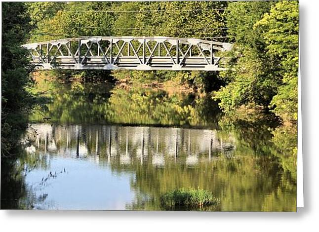 Reflection In Water Greeting Cards - Forest Bridge Greeting Card by Dan Sproul