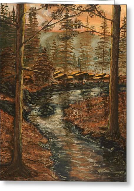 Babbling Paintings Greeting Cards - Forest Brook Greeting Card by Michael Brumbeloe