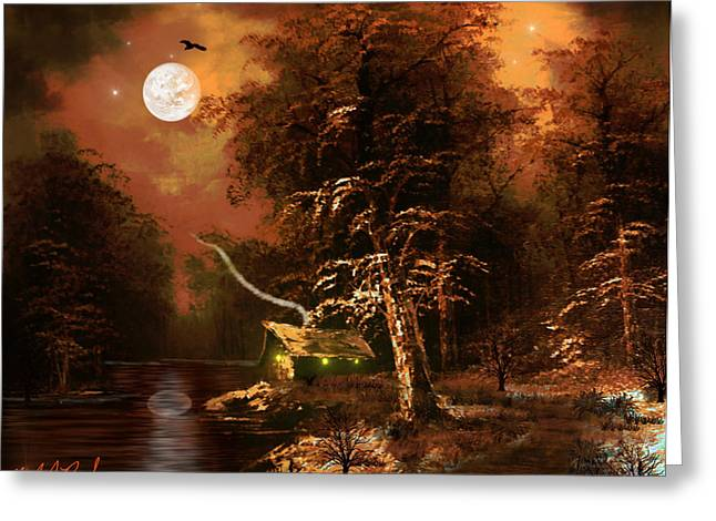 Hunting Cabin Digital Art Greeting Cards - Forest Cabin Greeting Card by Michael Rucker