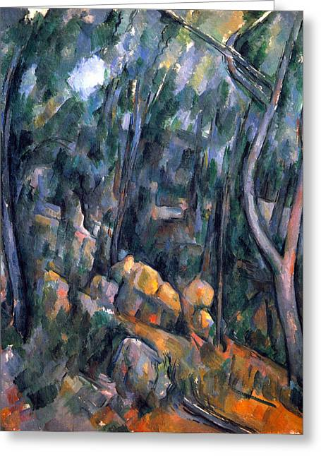 John Peter Greeting Cards - Forest caves in the cliffs above the Cheteau Noir by Cezanne Greeting Card by John Peter