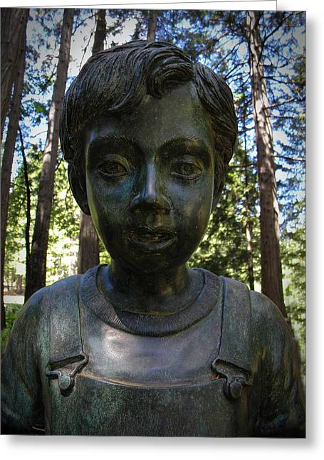 Garden Statuary Greeting Cards - Forest Child Greeting Card by Frank Wilson