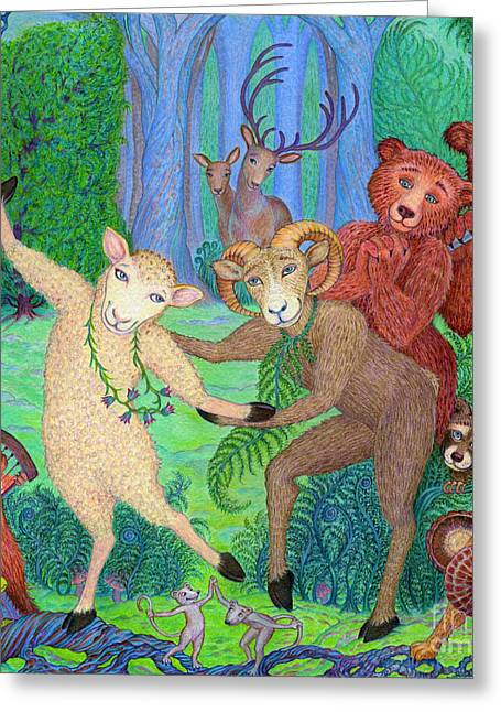 Gathering Drawings Greeting Cards - Forest Dance Greeting Card by Debra A Hitchcock