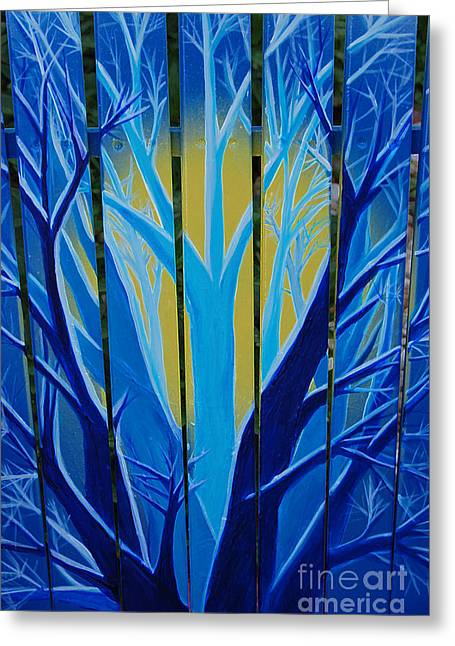 First Star Art By Jrr Greeting Cards - Forest Fence by jrr Greeting Card by First Star Art