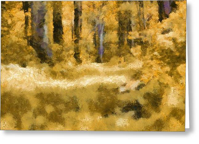 Escape Mixed Media Greeting Cards - Forest Floor In Autumn Greeting Card by Dan Sproul