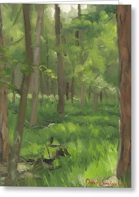 Fontainebleau Forest Greeting Cards - Forest from route des Etroitures - Foret vu de la route des Etroitures Greeting Card by David Ormond