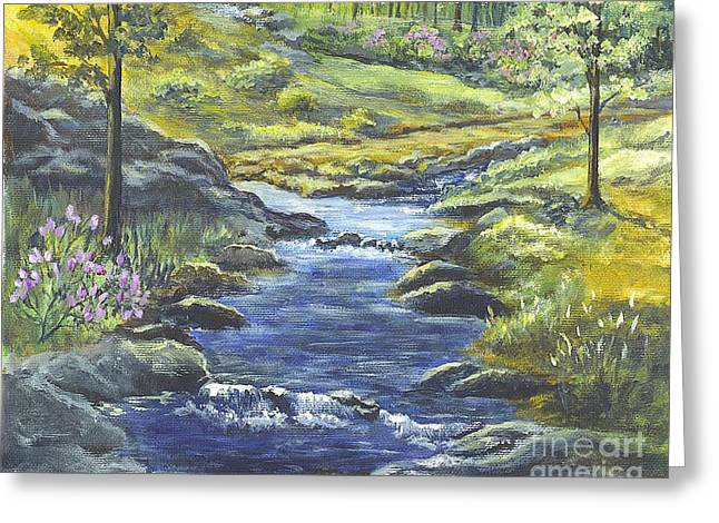 Rocks Drawings Greeting Cards - Forest Glen Brook Greeting Card by Carol Wisniewski