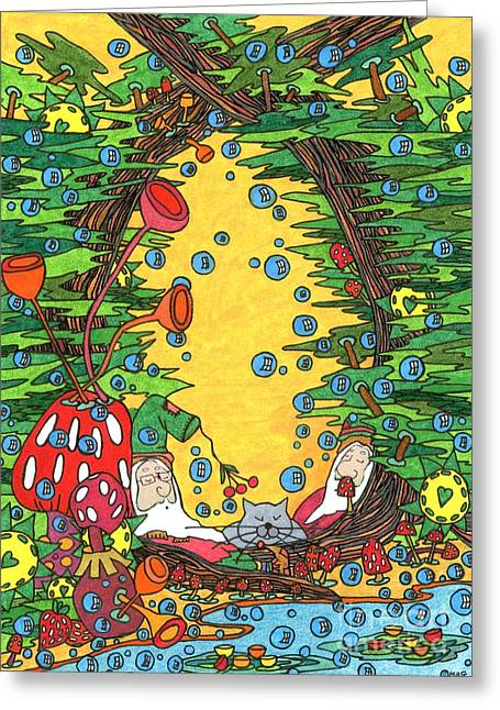 Gloaming Drawings Greeting Cards - Forest Gloaming Greeting Card by Mag Pringle Gire