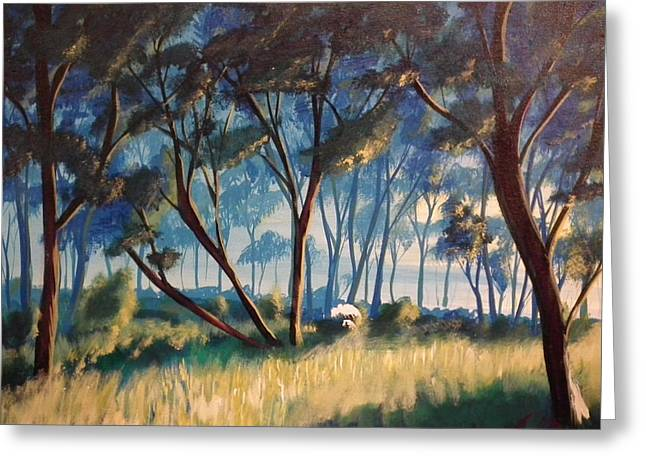 Sun Rays Paintings Greeting Cards - Forest Glow Greeting Card by Christopher Carter