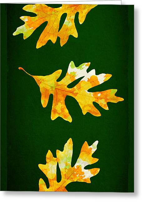 Forest Green Autumn Oak Leaf Painting Greeting Card by Christina Rollo
