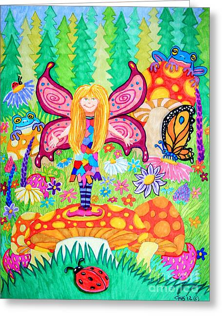 Strawberry Drawings Greeting Cards - Forest Grove Fairy Greeting Card by Nick Gustafson