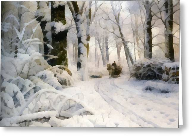 Horse-drawn Digital Greeting Cards - Forest In Winter Greeting Card by Peder Mork Monsted