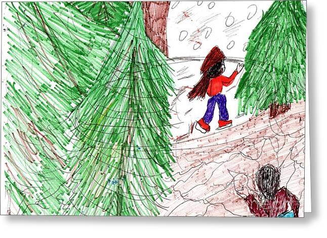 Ice-skating Mixed Media Greeting Cards - Forest Lake Greeting Card by Elinor Rakowski