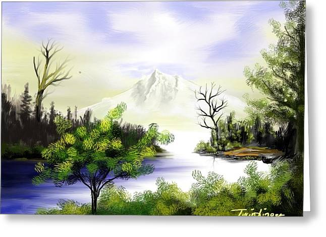 Forest Lake Greeting Card by Twinfinger