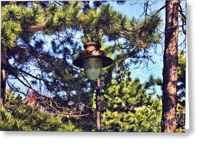 Night Lamp Mixed Media Greeting Cards - Forest Lamp Greeting Card by Milan Karadzic