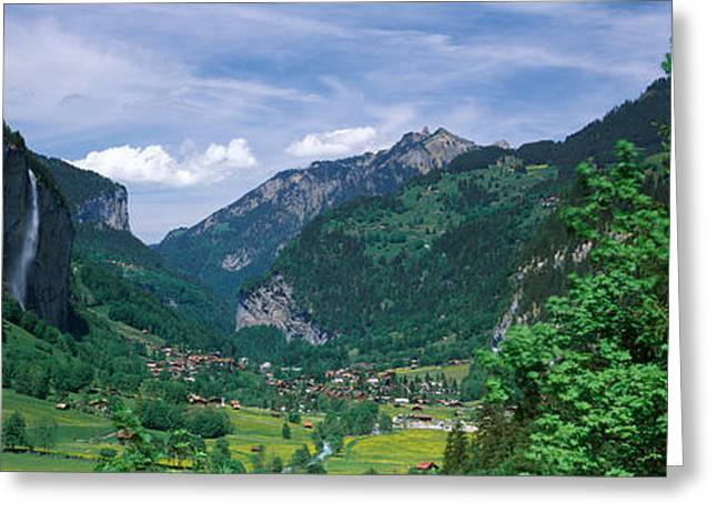 Berne Canton Greeting Cards - Forest, Lauterbrunnen Valley, Bernese Greeting Card by Panoramic Images