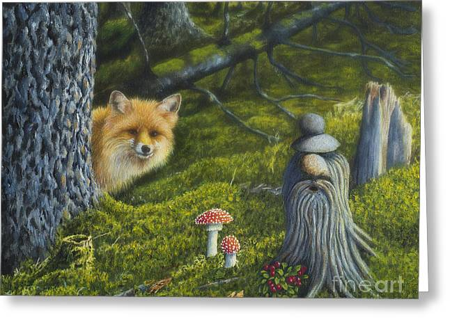 Harmonious Paintings Greeting Cards - Forest life Greeting Card by Veikko Suikkanen