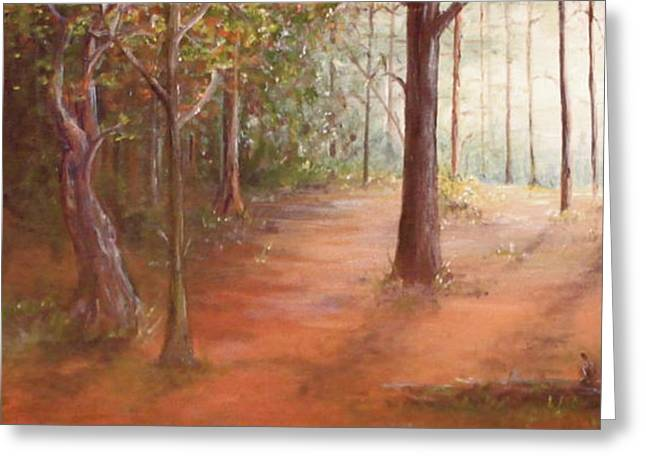 Hope At The End Of The Tunnel Greeting Cards - Forest light Greeting Card by Kelci Pauk